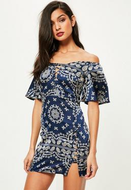 Blue Bardot Short Sleeve Print Lace Up Shift Dress