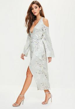 Grey Silky Floral Cold Shoulder Kimono Midi Dress