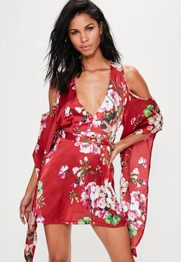 Red Silky Floral Cold Shoulder Kimono Sleeve Shift Dress
