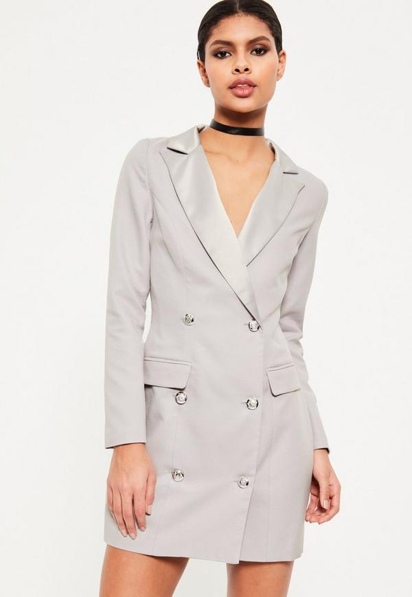 Grey Long Sleeve Tuxedo Dress