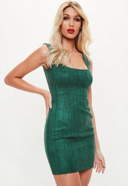 Green Sleeveless Faux Suede Bodycon Mini Dress