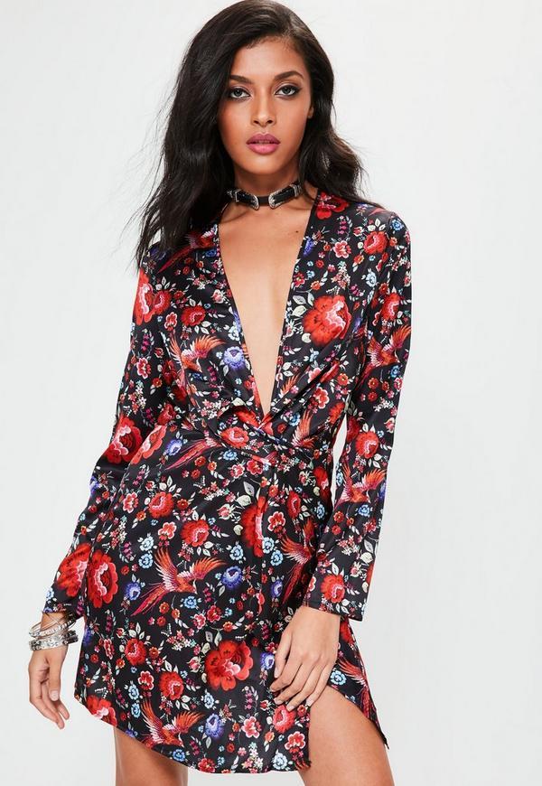Black Long Sleeve Twist Front Floral Wrap Dress