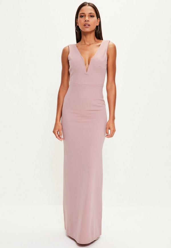 Pink V Plunge Maxi Dress Missguided