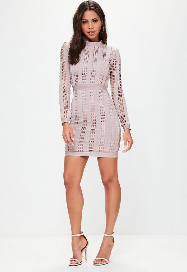 Pink High Neck Long Sleeve Bandage Dress | Missguided