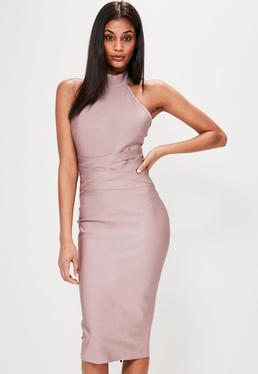 Pink Halterneck Bandage Midi Dress