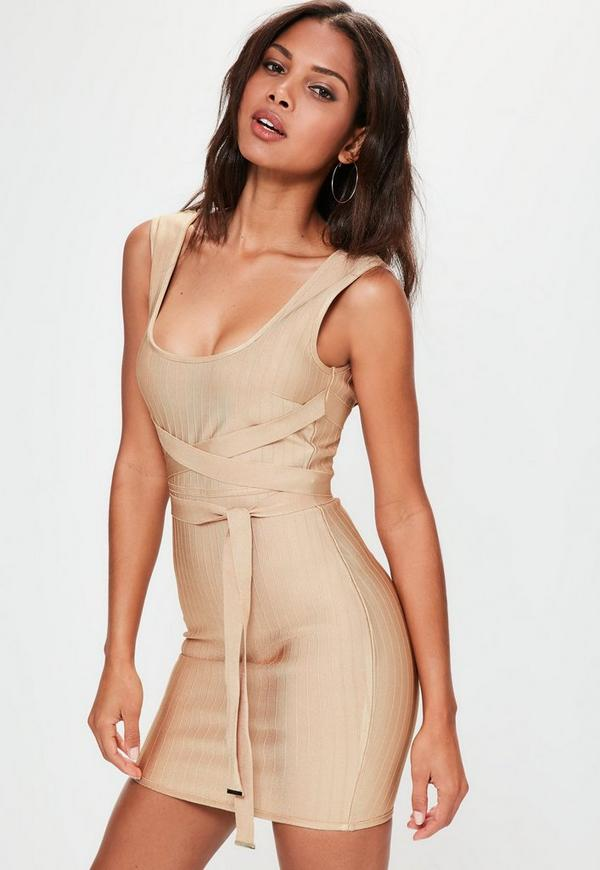 Nude Tie Detail Striped Bandage Bodycon Dress