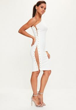 White Crepe One Shoulder Chain Lace Up Midi Dress