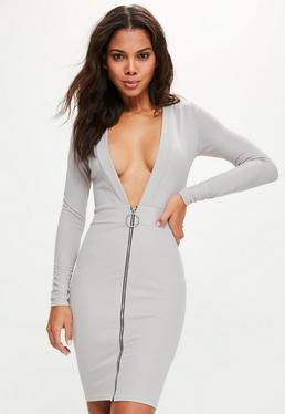 Grey Plunge Zip Front Long Sleeve Midi Dress