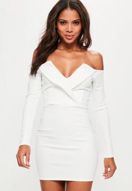 Biała dopasowana kopertowa sukienka bardot
