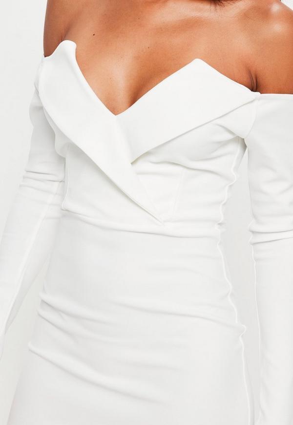 White Bardot Foldover Wrap Dress Missguided