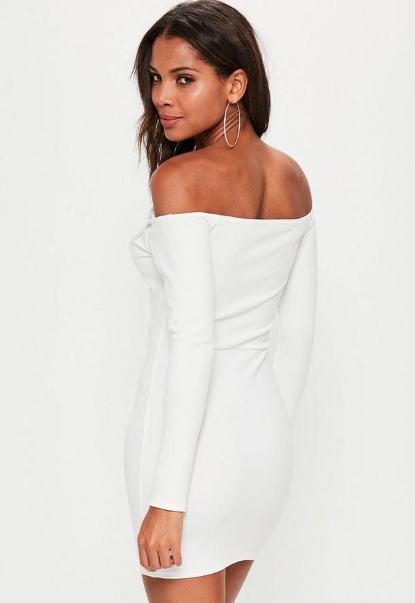 White Bardot Foldover Wrap Dress Missguided