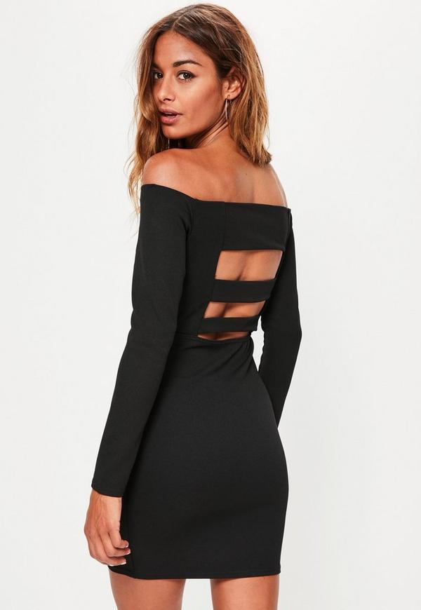 Black Bardot Strap Back Mini Dress