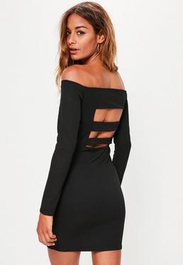 Schulterfreies Langarmkleid mit Träger-Rücken in Schwarz