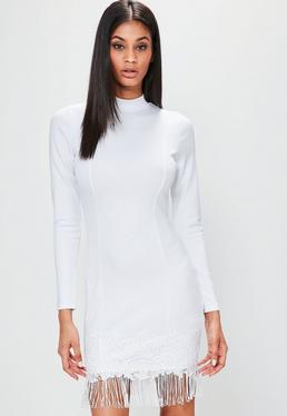 White Long Sleeve High Neck Tassel Hem Dress