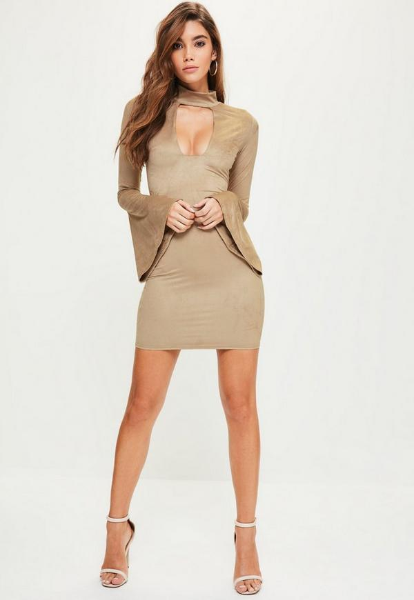 Nude Choker Neck Flared Sleeve Faux Suede Bodycon Dress