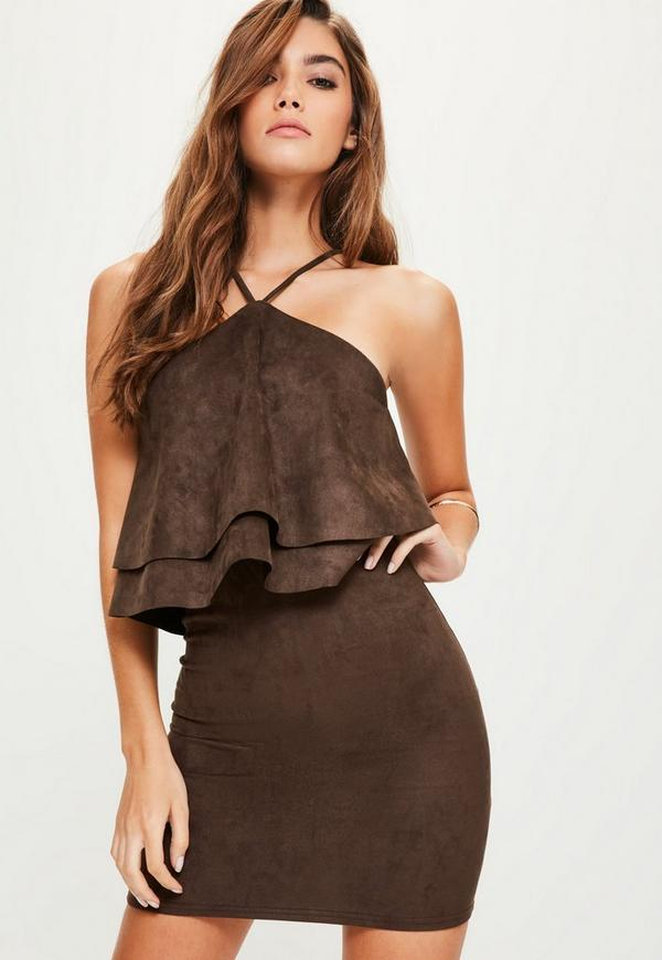 Brown Faux Suede Double Frill Bodycon Dress