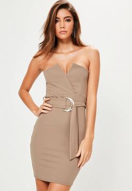 Brown Bandeau V Bar D Ring Belted Bodycon Dress