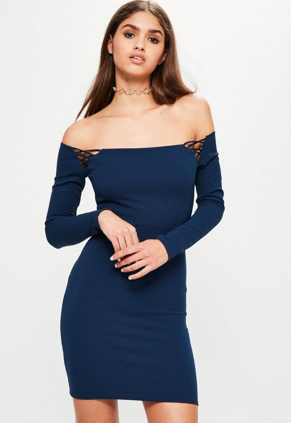 Navy Long Sleeve Bardot Shoulder Detail Dress
