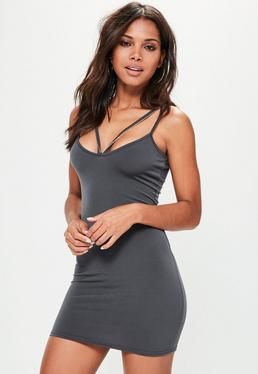 Grey Slinky Strappy Chain Bodydcon Dress