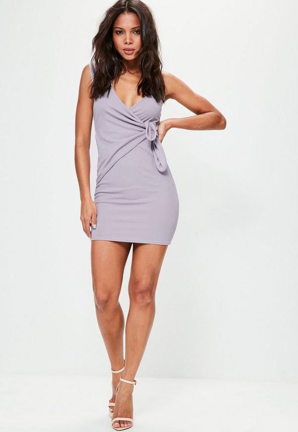 Purple Plunge Wrap Tie Detail Bodycon Dress