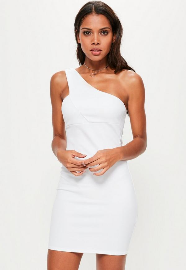 White One Shoulder Strap Detail Bodycon Dress