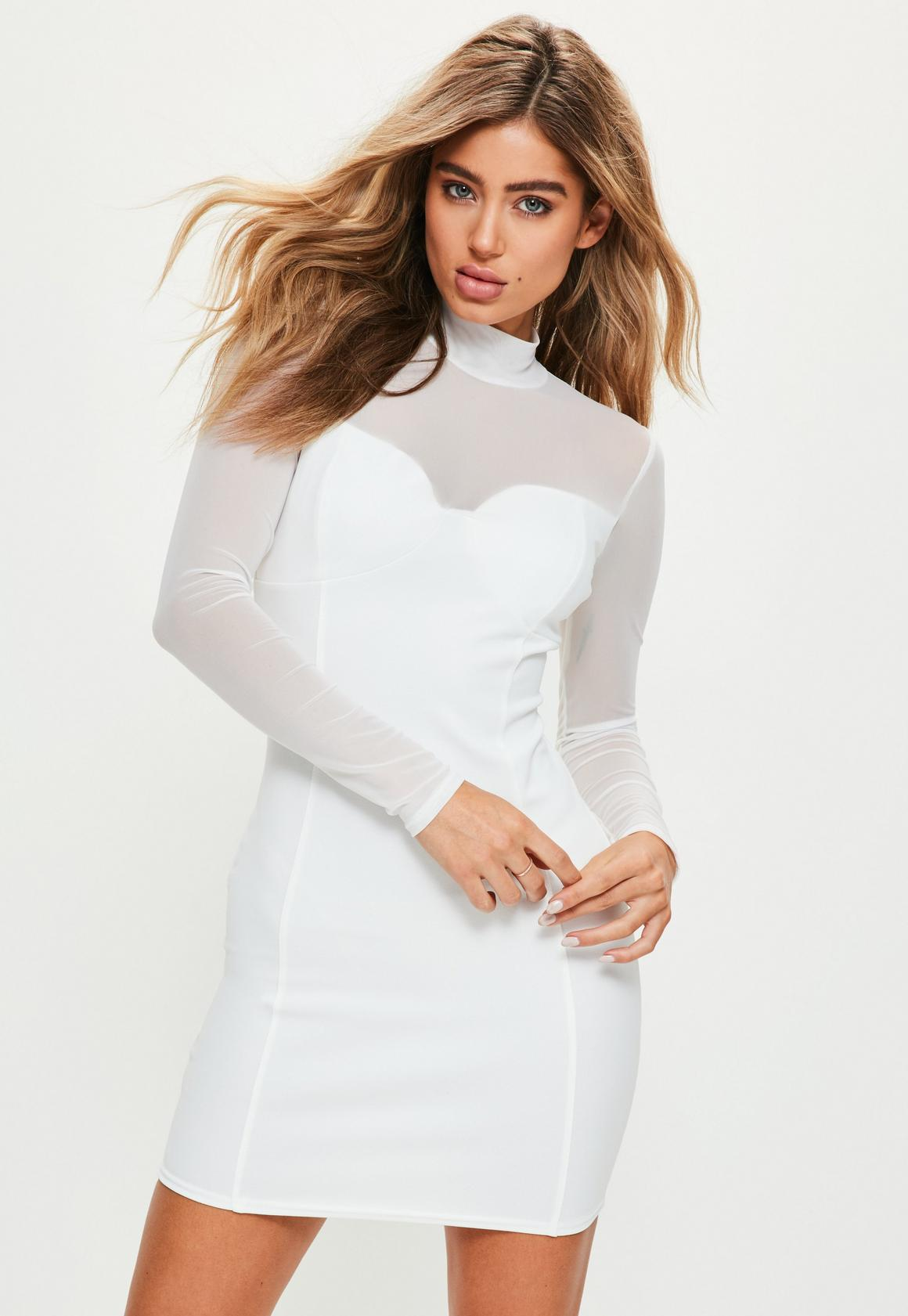White High Neck Long Sleeve Mesh Bodycon Dress | Missguided Ireland