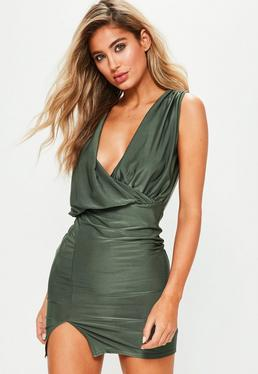 Green Slinky Gathered Shoulder True Wrap Dress