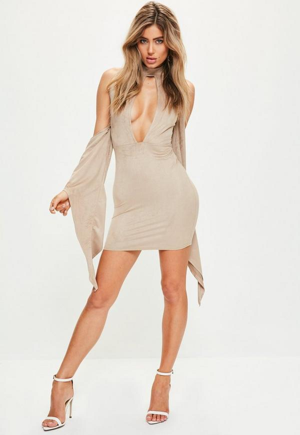 Nude Faux Suede Cold Shoulder Drape Dress