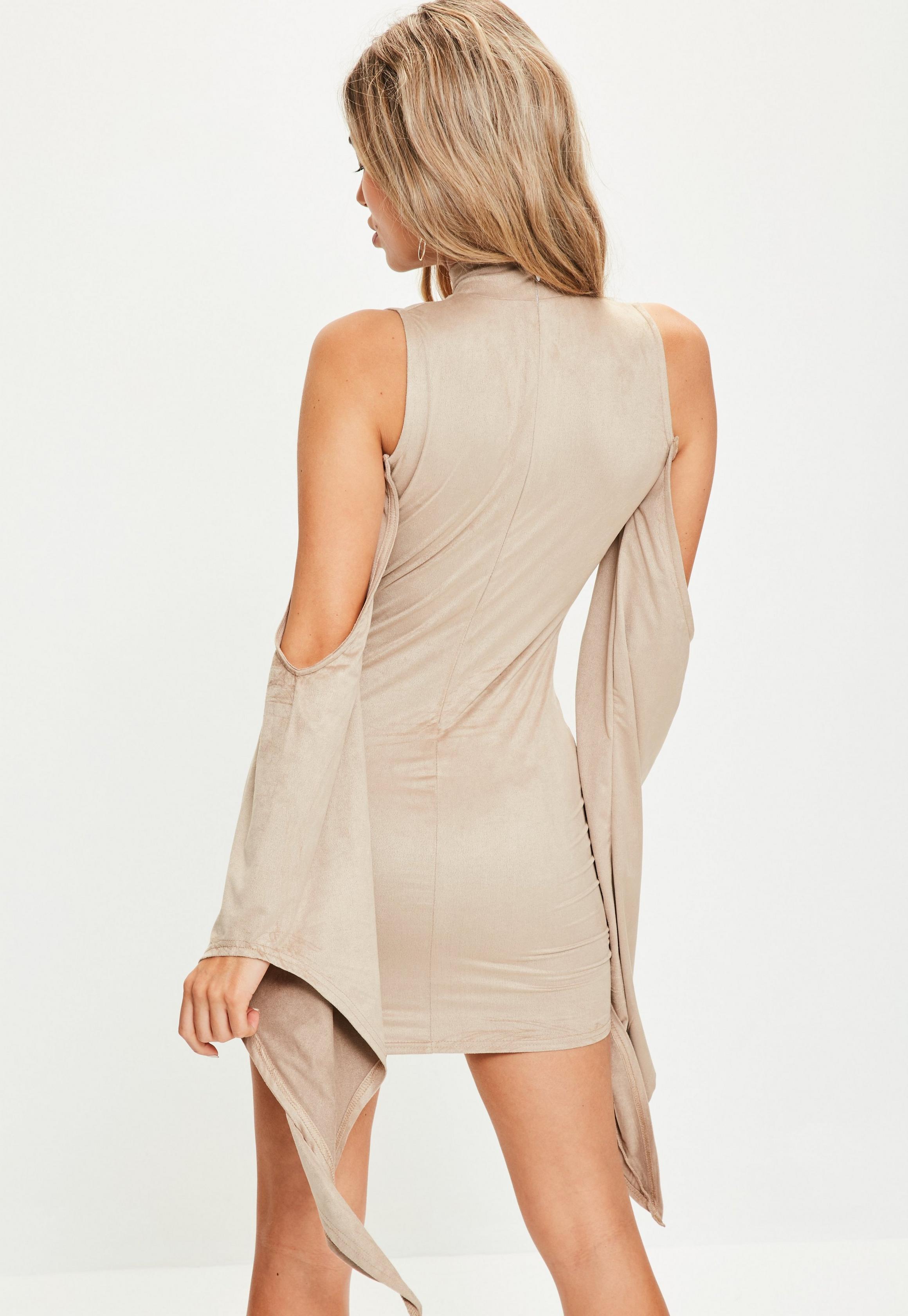 Grey Bonded Faux Suede Strappy Bodycon Dress | Suede
