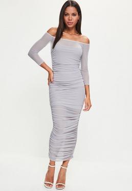 Lilac Bardot Ruched Mesh Maxi Dress