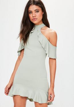 Green Slinky High Neck Cold Shoulder Mini Dress