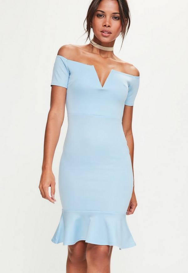 Blue V Bardot Flippy Hem Midi Dress