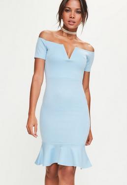 Vestido Midi Bardot con Escote de V y Hombros Descubiertos en Azul