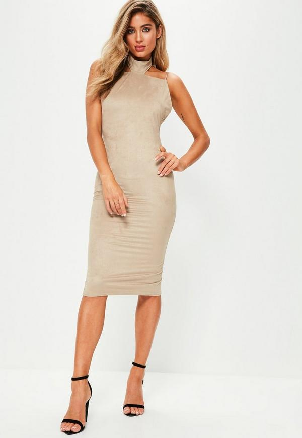 Brown High Neck Backless Faux Suede Bodycon Dress