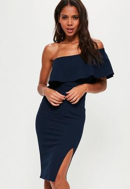 Navy One Shoulder Frill Split Midi Dress