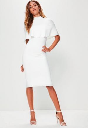 764bb41433 £14.00. white frill overlay shoulder midi dress