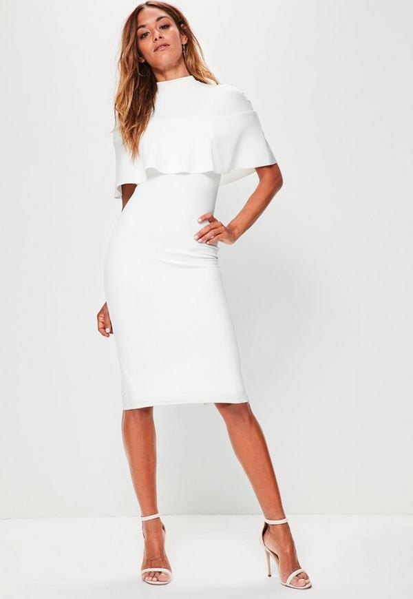 White Frill Overlay Shoulder Midi Dress