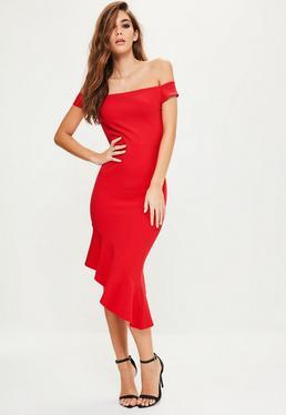 Czerwona asymetryczna sukienka midi bardot z ozdobnymi falbanami