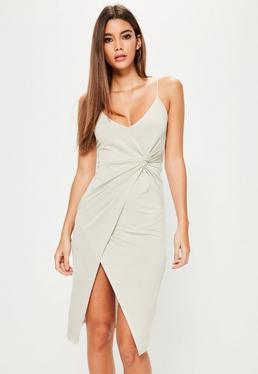 Grey Ruched Side Wrap Midi Dress