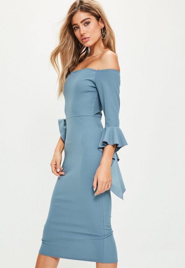 Blue Bardot Flared Sleeve Midi Dress | Missguided