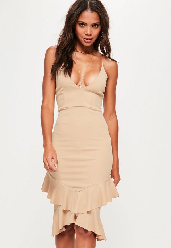 Nude Strappy Frill Hem Midi Dress