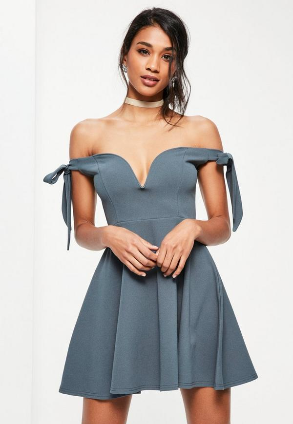 Blue Tie Sleeve V Bar Bardot Skater Dress