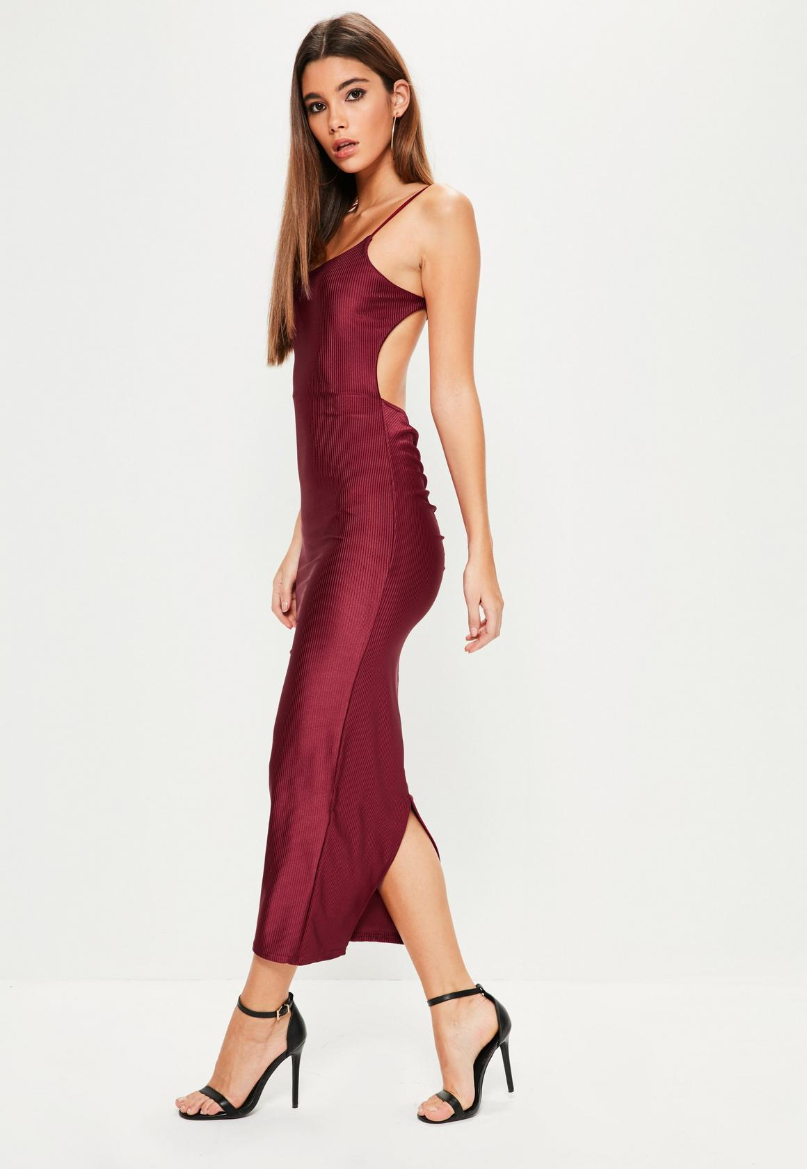 Burgundy Ribbed Backless Ruched Back Midi Dress | Missguided
