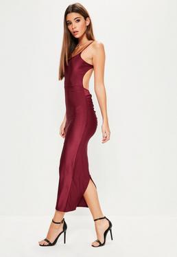 Burgundy Ribbed Backless Ruched Back Midi Dress