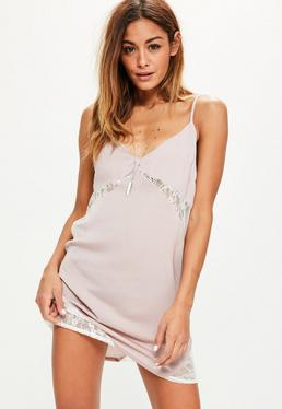 Pink Contrast Lace Insert Satin Cami Dress