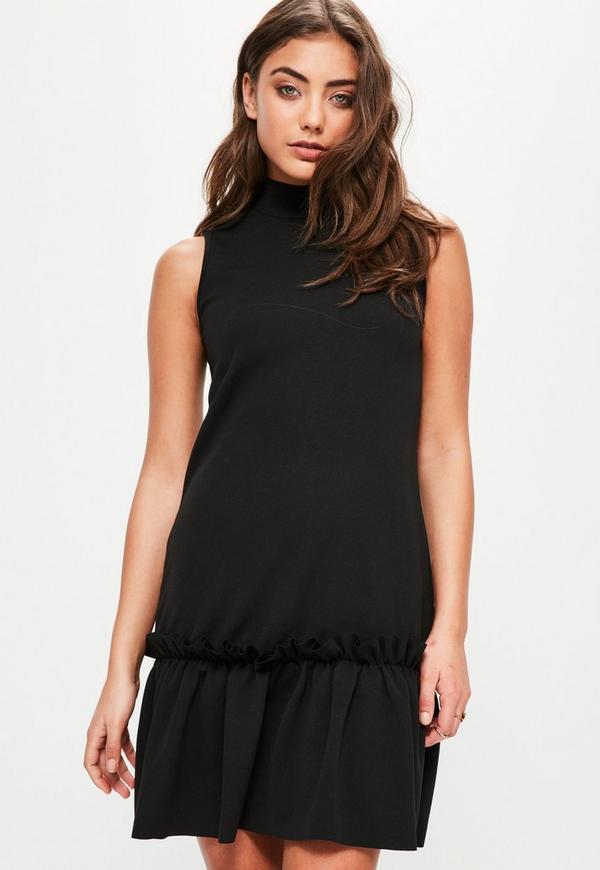 Black High Neck Sleeveless Frill Hem Shift Dress