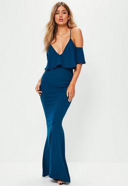 Niebieska sukienka maxi z falbanami na ramiączkach