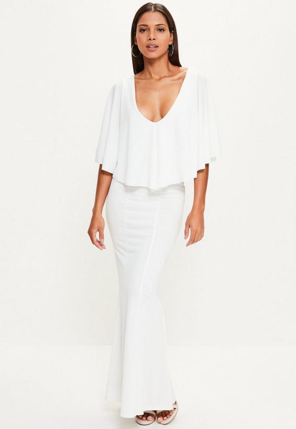White Cape Overlay Maxi Dress