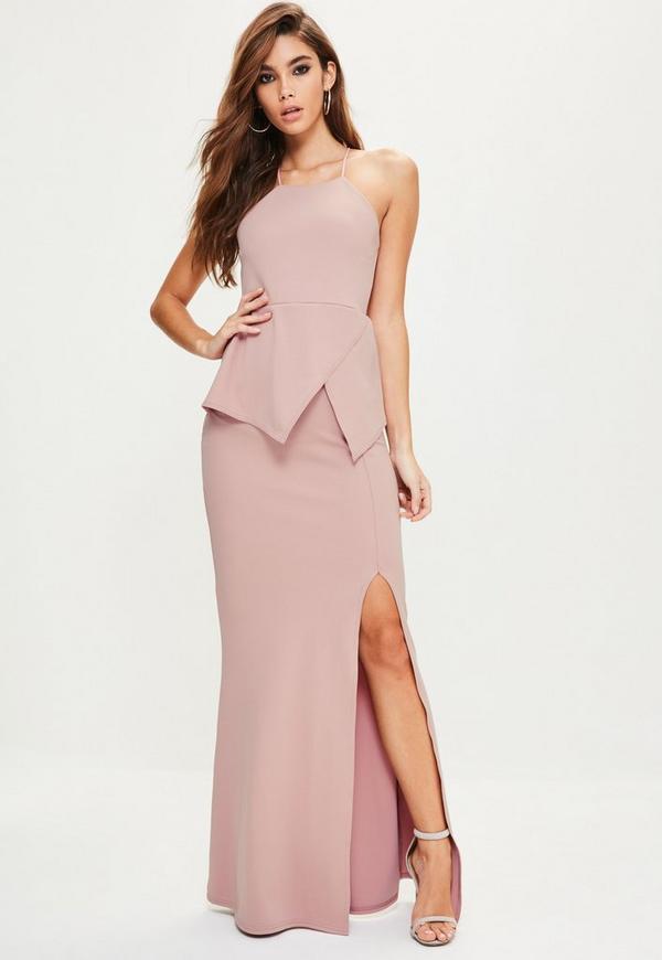 Vestido largo con escote cuadrado con detalle origami espalda cruzada en Rosa