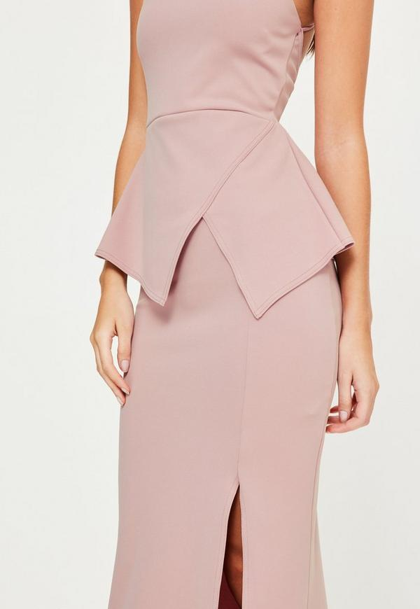 Pink Square Neck Origami Cross Back Maxi Dress Missguided
